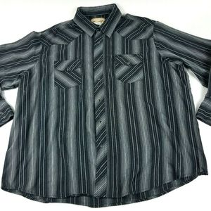 Wrangler Mens 2XL Black Gray Stripe Western shirt
